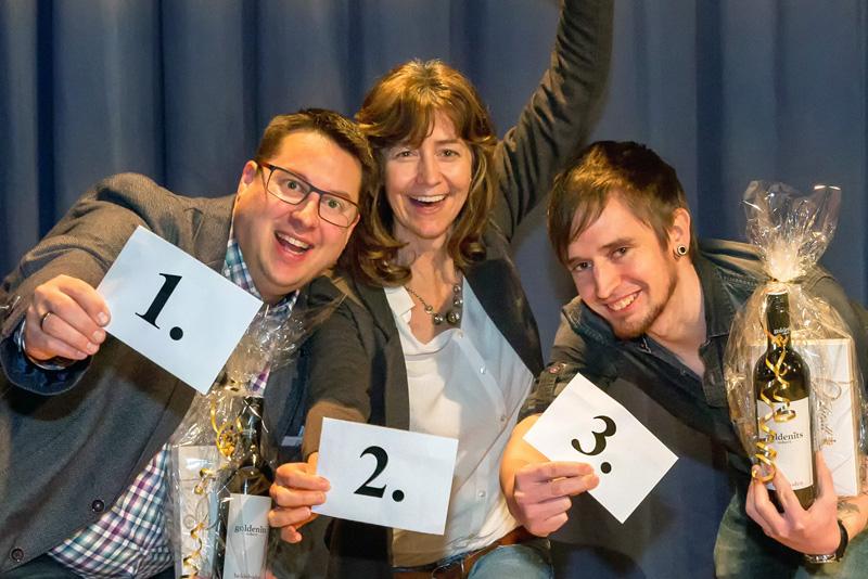 Freuen sich über ihren Erfolg: (von links) Florian Pötzl (Platz 1), Christine Hilbrich (Platz 2) und Michael Müller (Platz 3)
