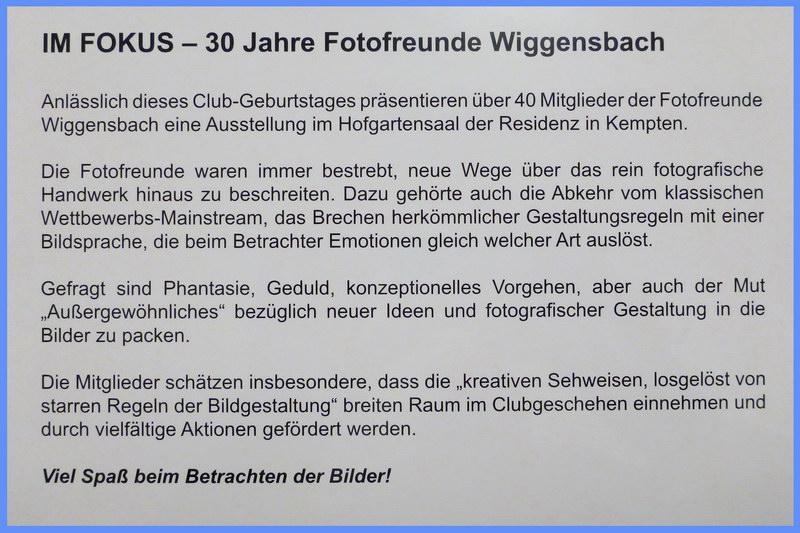 Die Fotofreunde Wiggensbach freuen sich auf viele interessierte Besucher ihrer  Jubiläumsausstellung im Hofgartensaal der Residenz Kempten.