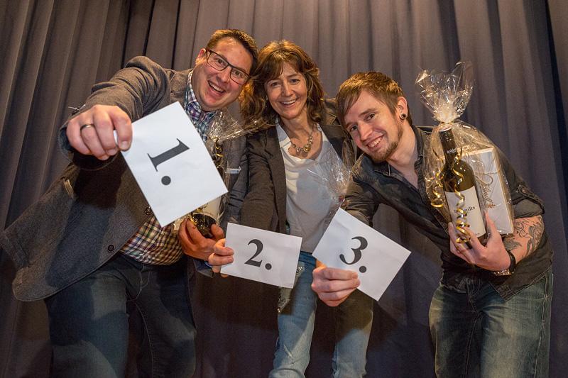 Das Gruppenfoto der besten Drei von links nach rechts: Florian Pötzl (1.Platz), Christine Hilbrich (2.Platz) und Michael Müller (3.Platz). Herzlichen Glückwunsch !